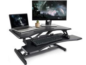 Standing Desk with Height Adjustable – Massfits Stand Up Desk Converter, 34 inches Ergonomic Tabletop Workstation Riser Fits Dual Monitors Black