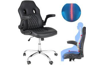 Office Chair, Gaming Chair Bonded Leather, Ergonomic Computer Desk Chair Task Swivel Executive Chairs High Back with Flip-up Armrests and Rolling Casters (Black)