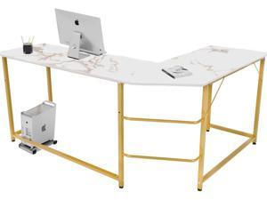 FUFU&GAGA Modern L-Shaped Desk, Corner Computer Desk PC Laptop Gaming Table Workstation for Home Office, White Faux Marble/Gold Metal Frame