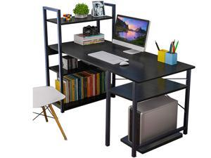 FUFU&GAGA Tower Computer Desk with 4 Tier Shelves - 47.6'' Multi Level Writing Study Table with Bookshelves Modern Steel Frame Wood Desk Compact Home Office Workstation (Black)