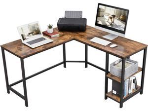 54.3 inch L-Shaped Computer Desk Corner Desk, Office Study Workstation with Shelves, Space-Saving, Easy to Assemble, Rustic Brown
