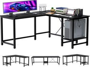FUFU&GAGA L-Shaped Computer Desk, 55-Inch Corner Desk for Home Office Writing Study Workstation Table with Storage Shelf, Adjustable 2 Person Long Desk PC Laptop Table for Space Saving