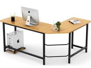 FUFU&GAGA Modern L-Shaped Desk, Corner Computer Desk PC Laptop Gaming Table Workstation for Home Office, Beech Wood Color