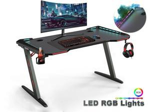 Gaming Desk, 55 Inch Gaming Table, PC Computer Workstation with LED RGB Lights, Headphone Hook and Cup Holder for Home, Black