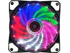 120mm PC Cooling Computer 16dB Ultra Silent 15 LEDs Case Fan Heatsink Cooler w/ Anti-Vibration Rubber, 12CM Fan, 12VDC 4 pin,Multicolor LED Lights