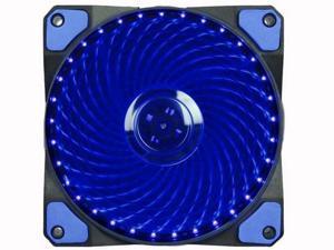 120mm PC Cooling Computer 16dB Ultra Silent 15 LEDs Case Fan Heatsink Cooler w/ Anti-Vibration Rubber, 12CM Fan, 12VDC 4 pin, Blue LED Lights