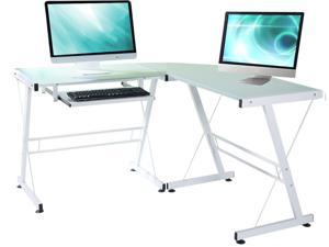 L-Shaped Durable Stalinite Splicing Computer Desk 402C White,Suitable for Teachers, Workers, Students and Businessmen