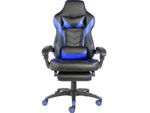 Foldable Nylon Foot Racing Chair Adjustable Height PU Leather Footrest Can Lie Down Easy to Install Black & Red (Blue)