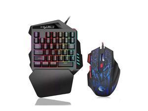 Mouse keyboard set game, PS4 mouse keyboard, 35-key mini gaming keyboard with RGB LED backlit keyboard