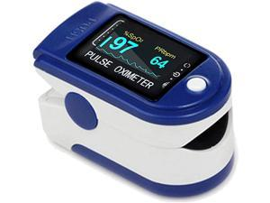 Fingertip pulse oximeter, rotatable OLED display showing waveform, blood oxygen saturation, bar graph and heart rate monitor