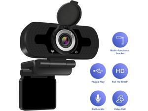 1080p HD Webcam W8, USB Desktop Laptop Camera, Mini Plug and Play Video Calling Computer Camera, Built-in Mic, Flexible Rotatable Clip