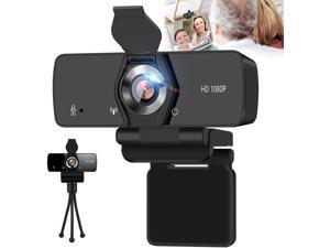 JELUMP Webcam with Microphone,1080P Webcam USB Web Camera for Desktop & Computer,HD Web Cam Video Camera with Privacy Cover & Tripod,Laptop Desktop PC Camera for Video Conference Recording Streaming