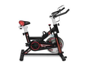 Exercise Bike, FITNESS Indoor Cycling Bike Stationary, Comfortable Seat Cushion, Multi - grips Handlebar, Health Workout with Water Bottle Holder and Soft Saddle (Black Red)