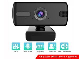 1080P Full HD Webcam Computer Camera, USB Plug and Play, Webcam with Microphone, Computer Webcams for PC MAC Laptop Desktop, Stream Web Camera for Skype,YouTube, Live Broadcast Video Conference ,Black