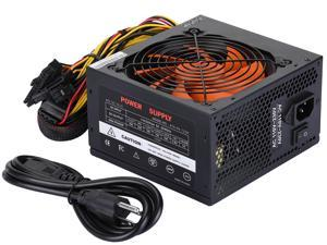 Power Supply 750W No-Modular 80+ Certified,Desktop Computer ATX Smart Power Supply With 120mm Ultra Quiet Auto Speed Control Fan,6 protection functions  (black/orange)