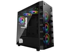 Abit ATX Mid Tower Gaming PC Case-Desktop Computer Case - Front Side Tempered Glass Side Panel Black