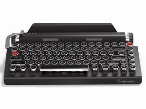 Qwerkywriter S Typewriter Inspired Retro Mechanical USB Wired & Bluetooth Wireless Keyboard with Tablet Stand Cherry MX Switches 83 key 75% Layout Cast Metal Return Bar Dual Scroll Knob Encoders