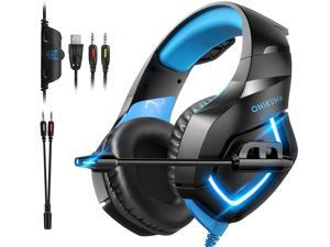 Gaming Headset - Over Ear Gaming Headphone with Microphone, Noise Canceling Stereo Sound Noise, Soft Memory Ear Cup for PC, PS4, Nintendo 64, Xbox One (Adapter Not Included)