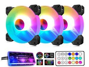 3 Pack RGB Case Fans,COOLMOON 120mm Silent Computer Cooling PC Case Fan  RGB Color Changing LED Fan with Remote Control
