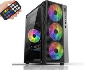 HSCCGI RGB ATX Mid-Tower with four 120mm RGB Fans, Fine Mesh Front Panel, Mesh Side Intakes, fully transparent acrylic & RGB Lighting System