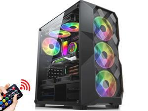 ATX Mid Tower Gaming Computer Case 4 RGB Fans Acrylic Side Window USB 3.0 Port, Mesh Airflow with Polygonal Mesh Front Panel, Gaming Style Window Case, Black