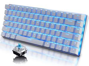 Mechanical Keyboard, 82 Keys Layout, Blue Switches, Blue LED Backlit, Aluminum Portable Wired Gaming Keyboard, Pluggable Cable, for Games Work and Daily Use, White