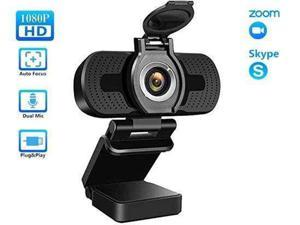 1080P webcam for PC, full HD computer camera with cover, USB web cam with microphone, cover, streaming camera for Skype, Streaming, teleconference etc.
