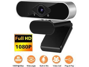 1080P Webcam with Microphone, Webcam Full HD PC Skype Camera, Video Calling and Recording for Computer Laptop Desktop, Plug and Play USB Camera for YouTube, Compatible with Windows