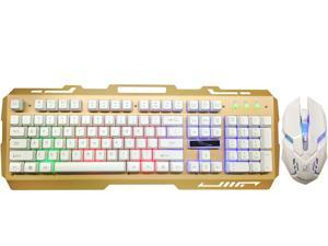 Gaming Keyboard Mouse Combo Wired,Color Changing LED Backlit Computer Gaming Keyboad,Lighted PC Gaming Mouse,USB Keyboard Clicky Keys,Durable Metal Structure,for PC Games Gamer Working,Yellow