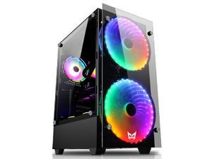 ATX Mid-Tower Gaming PC Case  with 2Pre-Installed 200mm rainbow Fans and 1x120 rainbow fan , Two Side Tempered Glass, , USB 3.0 I/O Port, 2xMagnet Dust Filter