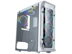 HSCCGI High Airflow Design, ATX Mid-Tower,6*120mm rainbow Lighting, Tempered glass side panel/acrylic front panel,White