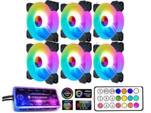 6 Pack RGB Case Fans,COOLMOON 120mm Silent Computer Cooling PC Case Fan  RGB Color Changing LED Fan with Remote Control