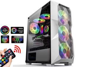 ATX Mid Tower Gaming Computer Case 3 ARGB Fans Tempered Glass Side Window USB 3.0 Port, Mesh Airflow with Polygonal Mesh Front Panel, Gaming Style Window Case, White