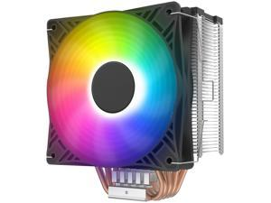 HSCCGI X4S CPU Cooler Silent CPU PWM 120mm RGB Fan 4 Continuous Direct Contact Heatpipes for TNTEL/AMD CPU(AM4 Compatible)