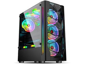 HSCCGI Black ATX Tower Chassis Gaming PC Case with USB3.0 and 6pcs 120mm rainbow Fans, 2 Tempered Glass Panels Gaming Style Windows Computer PC Case