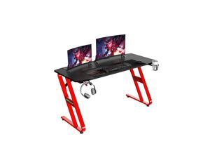 """NEO Ergonomic 55"""" Z Shaped Gaming Desk - 55Inch Home Office PC Computer Gaming Table with Cup Holder Headphone Hook & 2 Cable Management Holes"""