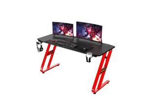 """Ergonomic Gaming Desk 55Inch Gaming Desk - 55"""" Z Shaped Home Office PC Computer Gaming Table with Cup Holder Headphone Hook & 2 Cable Management Holes"""