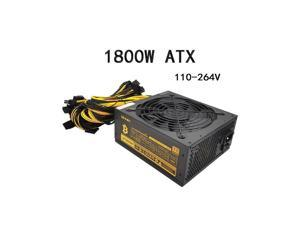 90 PLUS Gol 1800W  Power Supply 1800W Miner Power Supply 110V-264Vd Server Industrial Control 20+4Pin, 8Pin, 4Pin, SATA, IDE Power Support 6-8 ATX 12V 2.31 Video Cards