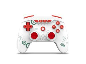 Switch Controllers, Wireless 6-Axis Gamepad Bluetooth Dual Vibration Controller For Switch Pro, Product color: White Green Gear + Red Button