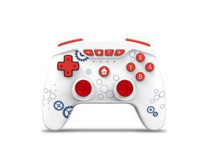 Switch Controllers, Wireless 6-Axis Gamepad Bluetooth Dual Vibration Controller For Switch Pro, Product color: White Blue Gear + Red Button
