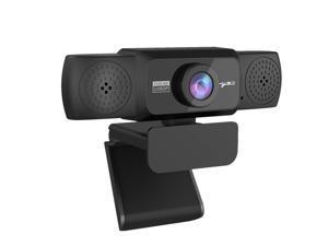 1080P Webcam with Microphone Adjustable HD Auto Focus Video Webcam for PC (Black)