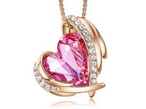 Love Heart Pendant Necklaces for Women Silver Tone Rose Gold Tone Crystals Birthstone Mother's Day Jewelry Gifts for Women Birthday/Anniversary Day/Party