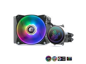 ARGB CPU Cooler,  CPU Water Cooling Fan 5V 3Pin Computer Cooling Fan Integrated Water CPU Cooling Liquid Cooling PC Processor Cooler Cpu Water Cooler for Intel AMD with 120mm Ultra Quiet Fans