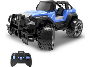 Remote Control Car RC Racing Cars,1:18 Scale 80 Min Play 2.4Ghz LED Light Auto Mode Off Road RC Trucks with Storage Case,All Terrain SUV Jeep Cars Toys Gifts for Boys Kids Girls Teens,Blue