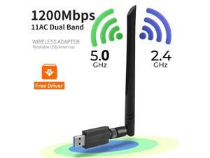1200Mbps USB WiFi Adapter, USB 3.0 Wireless Network Adapter, 802.11ac WiFi Dongle with Dual Band 2.4GHz 5.8GHz, 5dBi Antenna, Supports Windows 10 8 7 Vista XP, Mac10.6-10.13, Linux