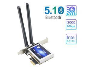 Teday TD-AX3000 WiFi 6 PCI-E 3000Mbps Bluetooth 5.1 Wifi Adapter Intel AX200 Wi-fi Card Wireless PCI Express 802.11ax/ac 2.4Ghz/5.0Ghz Dual Band MU-MIMO OFDMA For Windows 10 Linux