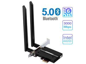 WiFi 6 AX200 PRO 3000Mbps PCI-E Bluetooth 5.0 Desktop Wireless Wifi Adapter Intel AX200 Wi-Fi Card, PCI Express 802.11ax/ac 2.4Ghz/5Ghz Dual Band MU-MIMO OFDMA, 6DBi Antenna For Windows 10 Linux