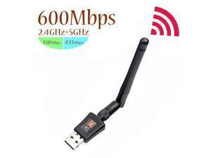 600Mbps USB Wifi Adapter for PC Mini 802.11ac Dual Band 2.4G/5G High Gain 2dBi Antenna Wireless Network Adapter Wi-Fi Dongle Adapter Support Windows XP,Win Vista,Win 7,Win 8.1, Win 10,Mac OS X 10