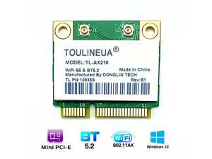 TL-AX210 WiFi 6E 2.4G/5G/6G Mini PCI-E Wifi Card For Intel AX210 2974Mbps Bluetooth 5.2 802.11ax MU-MIMO Than AX200 Wireless Adapter For Laptop Windows 10