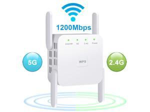 AC1200 Dual Band WiFi Range Extender, Wi-Fi Repeater / Access Point / Router / Media Bridge with 4 High Gain External Antenna 1200Mmbps Wifi Booster, 802.11AC, WPS Easy Set Up, WPA, WPA2, Wall Plug